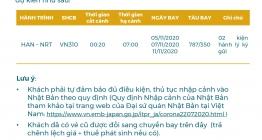 Vietnam Airlines thông báo lịch bay HANNRT tháng 11/2020