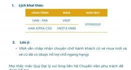 MỞ BÁN CHUYẾN BAY QUỐC TẾ HAN-FRA, HAN-X/FRA-CDG 07SEP2020