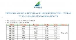 BAMBOO-THÔNG BÁO MỞ BÁN ĐƯỜNG BAY HAN/HPH/VII – VCS    TỪ NGÀY 12/09/2020