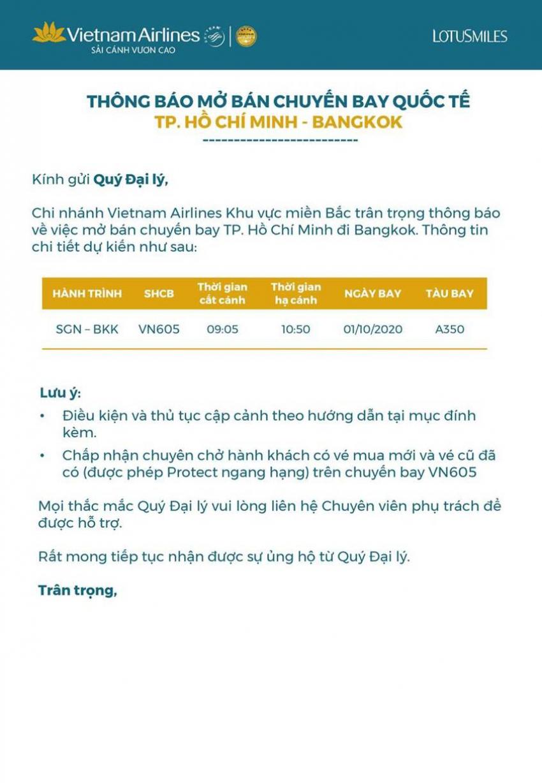 VIETNAM AIRLINES CNMB THÔNG BÁO MỞ BÁN CHUYẾN BAY SGN-BKK 01OCT20